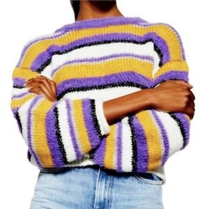 NWT Topshop Striped Furry Pullover Cropped Sweater